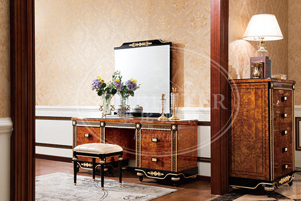 mahogany cedar bedroom furniture with white rim for royal home and villa