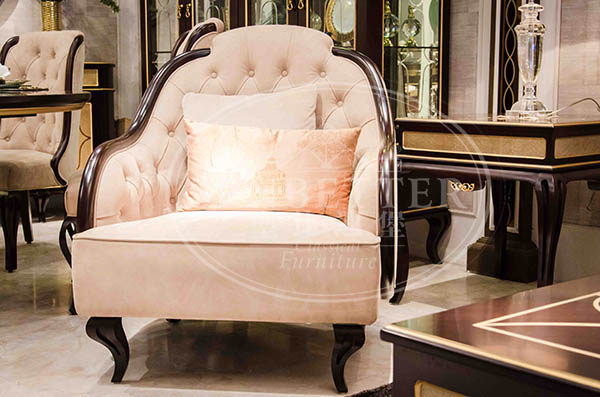 Senbetter elegant style new living room furniture with brass accessory for living room-3