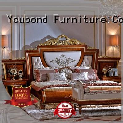high-quality blue bedroom furniture with shiny brass accessory decoration for decoration