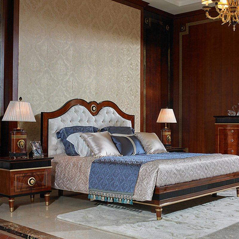 Spain Simple Design High Gross Mahogany Veneer Solid Wood Italian Style Bedroom Furniture 0068