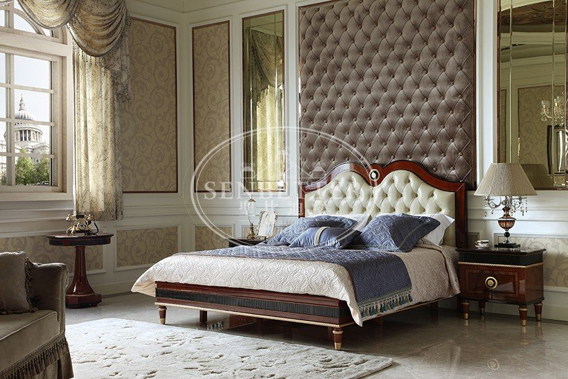 Senbetter classical french style bedroom furniture with shiny brass accessory decoration for sale-2