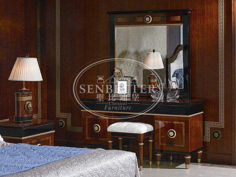 mahogany luxury bedroom furniture with white rim for decoration