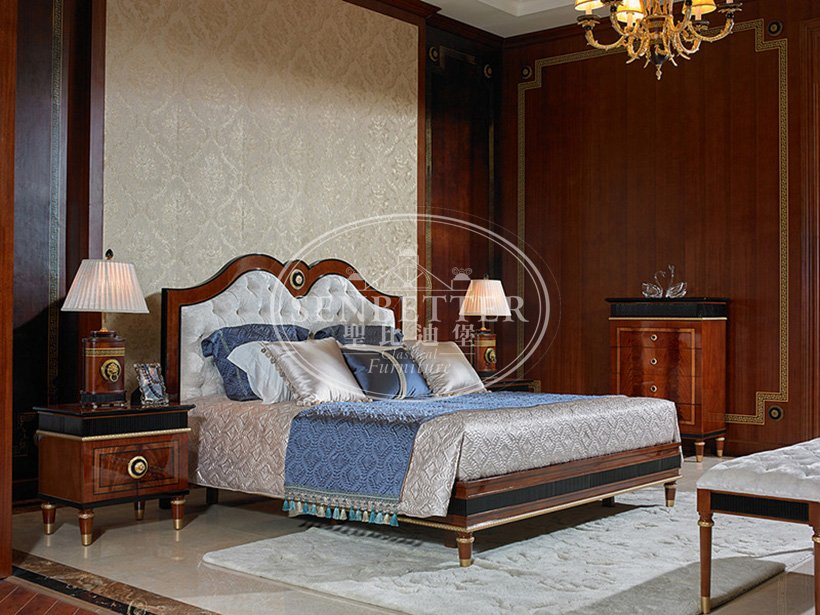 Senbetter classical french style bedroom furniture with shiny brass accessory decoration for sale-5