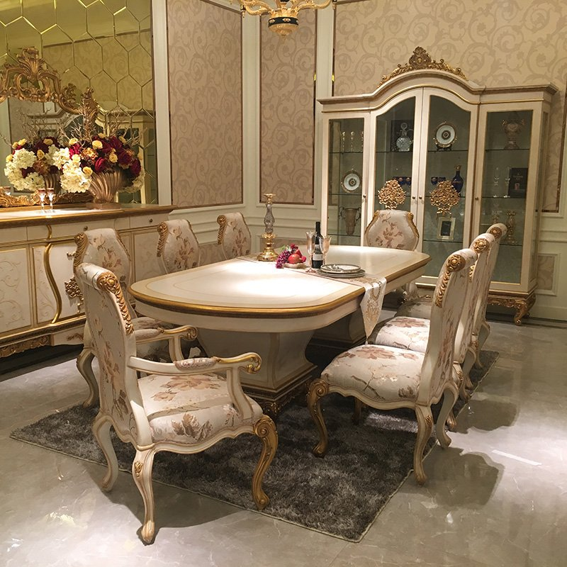 Senbetter-European Elegant Classic Luxury Wooden Dining Room Fruniture Set For Villa 0067