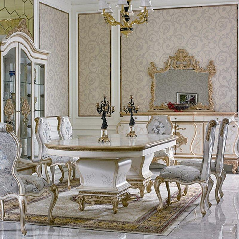European Elegant Classic Luxury Wooden Dining Room Fruniture Set For Villa 0067