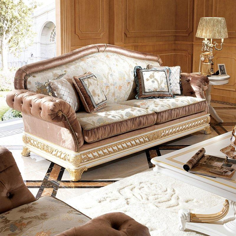 Italian Style Living Room Furniture With White & Delicate Wood Carving Design Sofa Set 0062