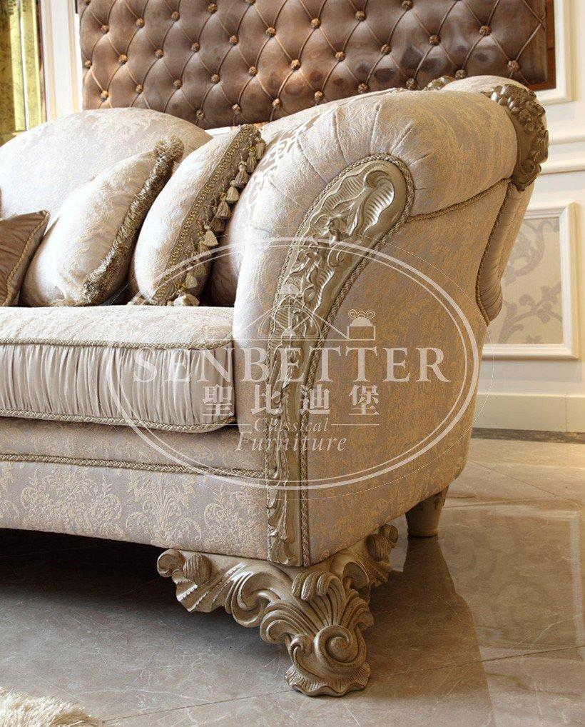 Senbetter european white living room furniture with flower carving for living room