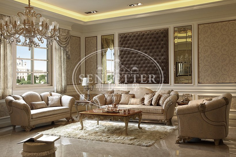 elegant style fancy living room sets with chinese element for home-3