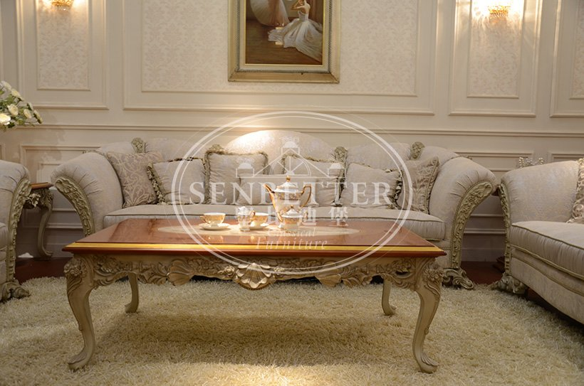 Senbetter luxury living room furniture sets with brass accessory for hotel-4
