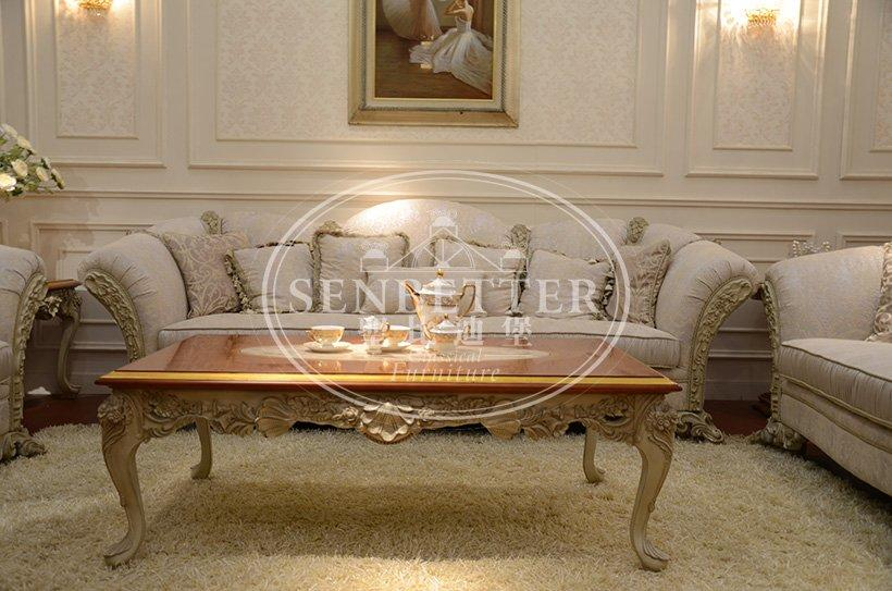 Senbetter luxury living room furniture sets with brass accessory for hotel
