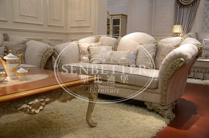 Senbetter luxury living room furniture sets with brass accessory for hotel-5