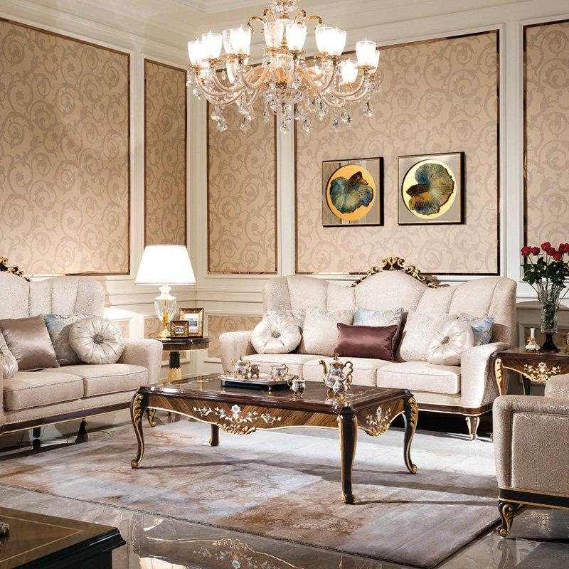 Luxury Palace Furniture Italian Classic Sofa Set With Flower Carving For Living Room Furniture 0070-1