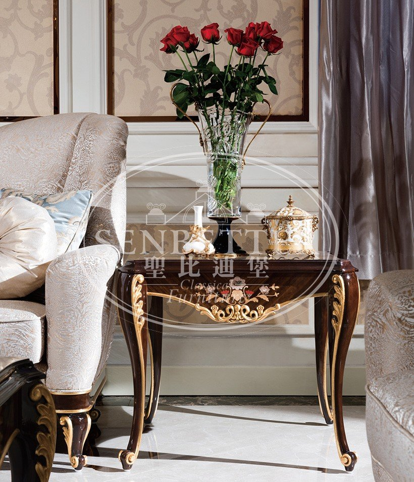 elegant style living room table sets for sale with flower carving for living room-4