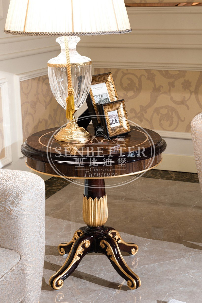elegant style living room table sets for sale with flower carving for living room-5