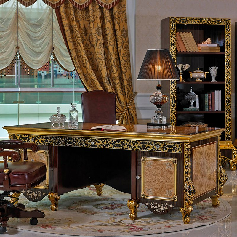 Senbetter-Royal Gold Louis French Antique Carved Luxury Classic Study Room Office Furniture 0061