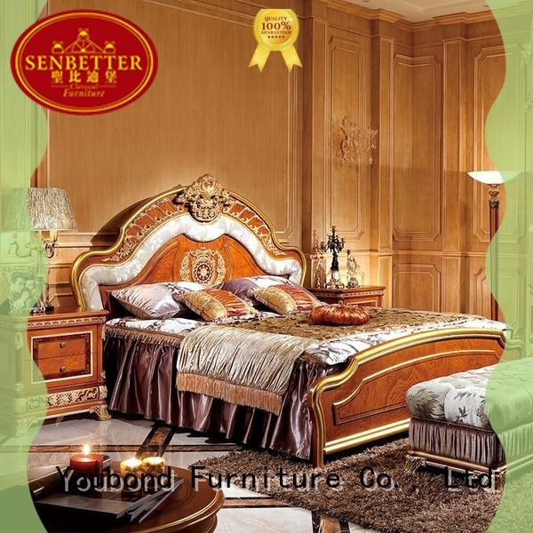 Senbetter high-quality bedroom furniture packages with shiny brass accessory decoration for royal home and villa
