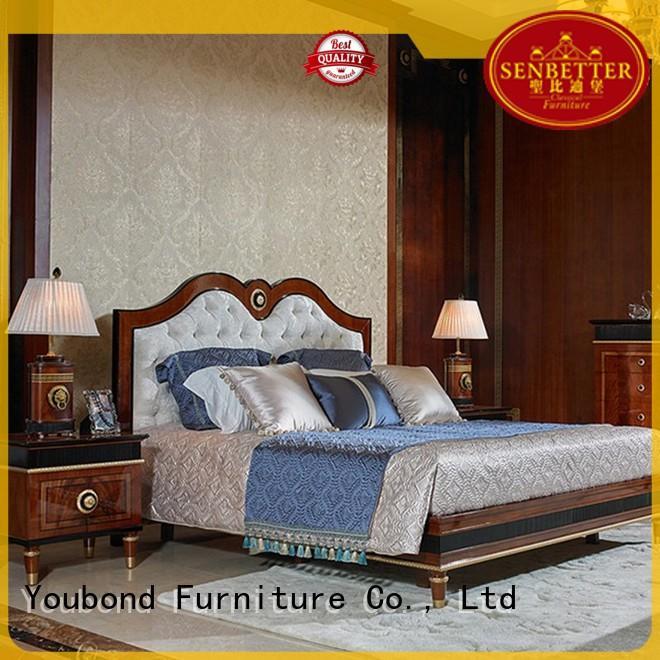 Senbetter black high gloss bedroom furniture for royal home and villa