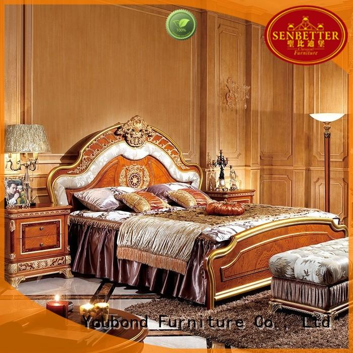Senbetter newly antique bedroom furniture with shiny brass accessory decoration for decoration