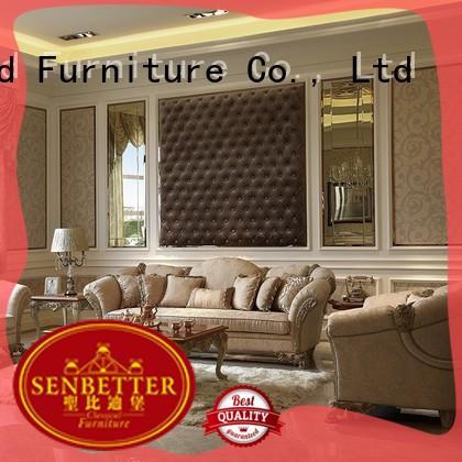 Senbetter european white living room furniture with flower carving for living room