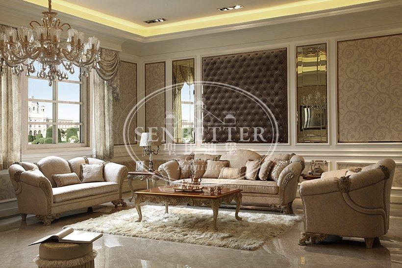 Senbetter luxury living room furniture sets with brass accessory for hotel-3