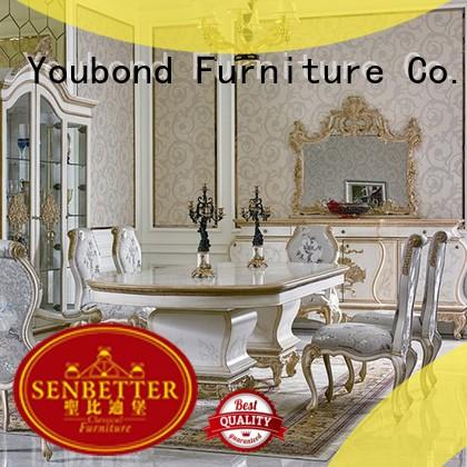 Senbetter elegant solid wood dining room table with buffet for villa