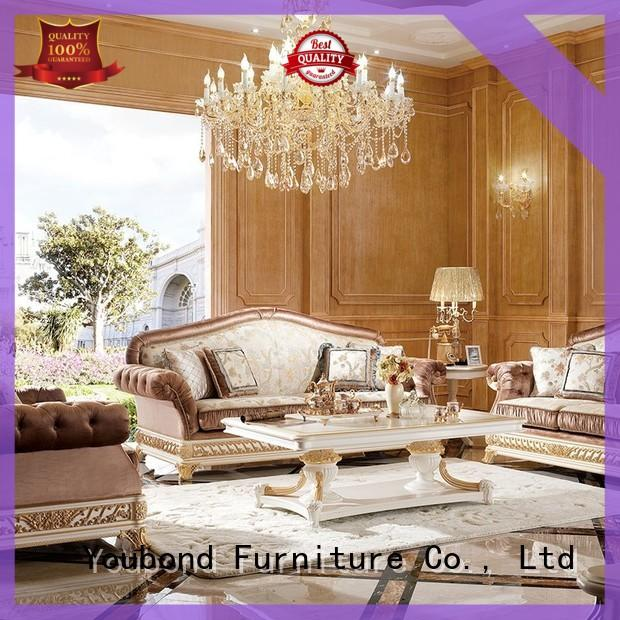 Senbetter wholesale sofa chair set with brass accessory for hotel