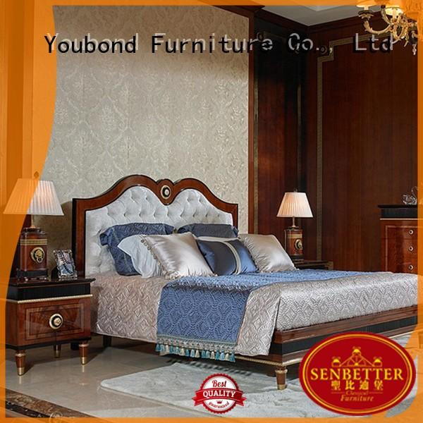 Senbetter blue dark brown bedroom furniture with solid wood table and chairs for sale