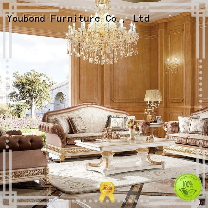wooden classic living room furniture with flower carving for hotel