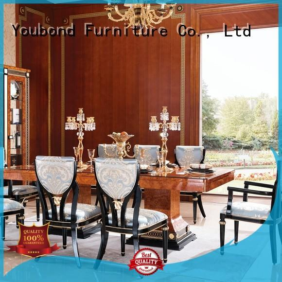 Senbetter solid wood round dining table with chairs for villa