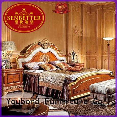 Senbetter blue classic wood bedroom furniture with white rim for decoration