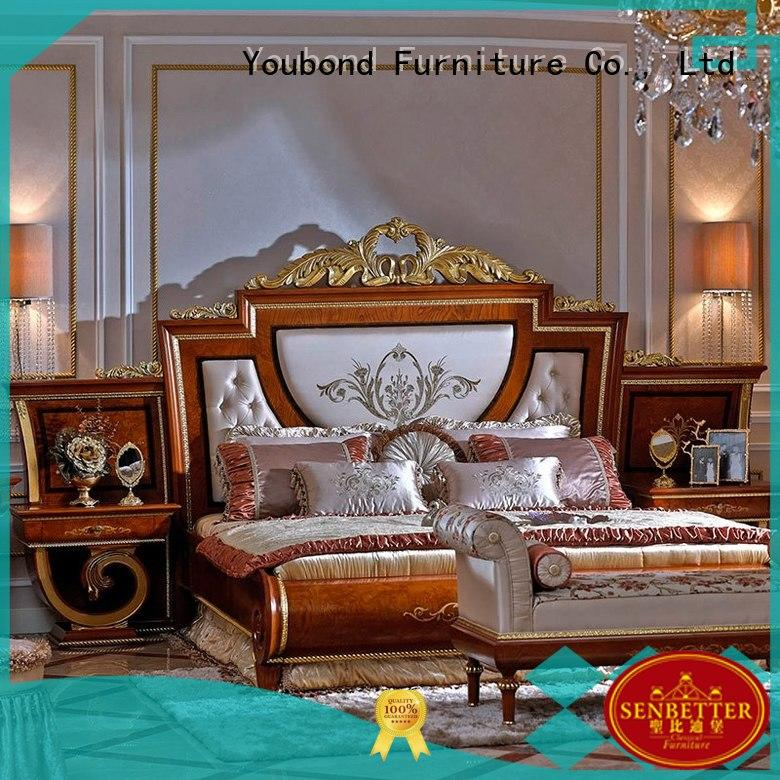 Senbetter classic nolte bedroom furniture with shiny brass accessory decoration for royal home and villa