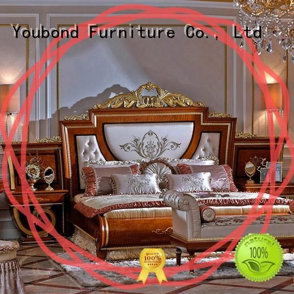 Senbetter veneer luxury bedroom furniture with shiny brass accessory decoration for sale