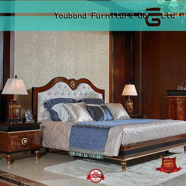 european luxury bedroom furniture with shiny brass accessory decoration for royal home and villa