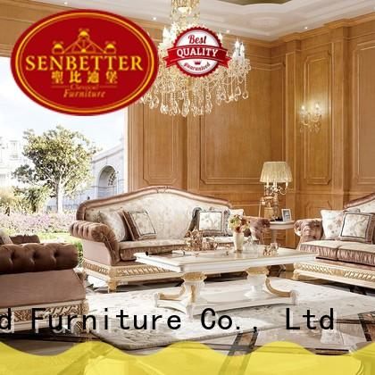 Senbetter contemporary living room furniture sets with flower carving for hotel