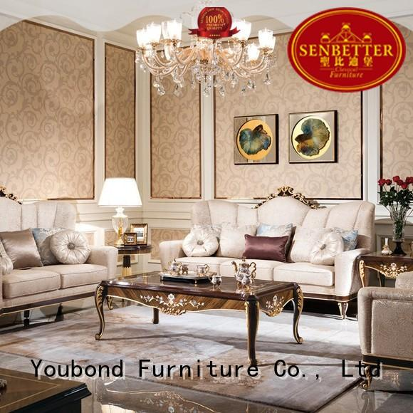 french fabric living room furniture with brass accessory for hotel