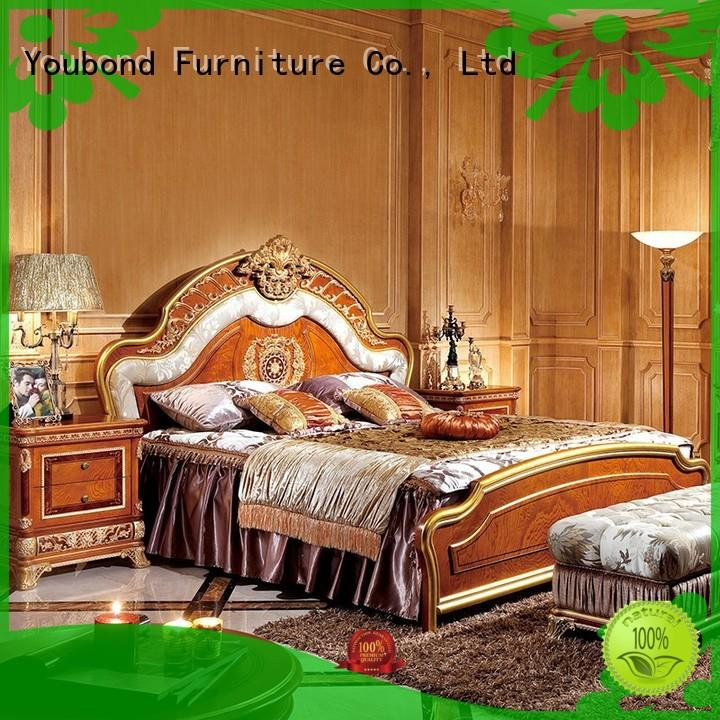 Senbetter mahogany vintage bedroom furniture with solid wood table and chairs for royal home and villa