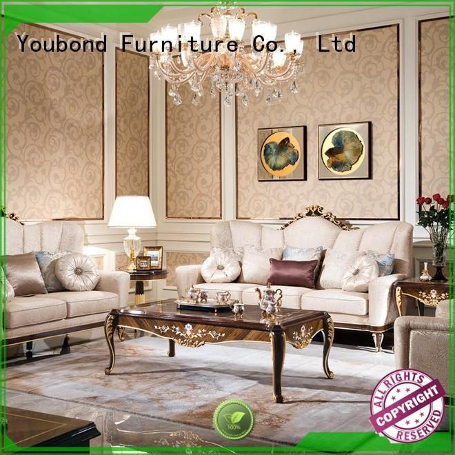 Senbetter high end living room furniture with flower carving for villa