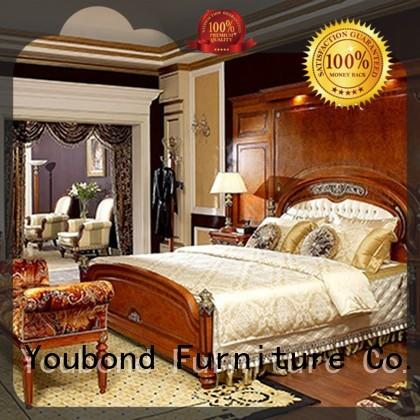 Senbetter solid wood bedroom furniture with white rim for royal home and villa