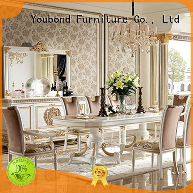 modern solid wood round dining table with wooden table for villa
