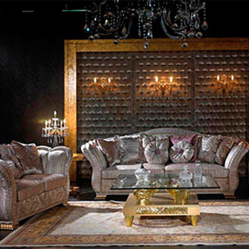 European Style Living Room Furniture With Fabric Sofa For Luxury Home & Hotel Lobby 10052