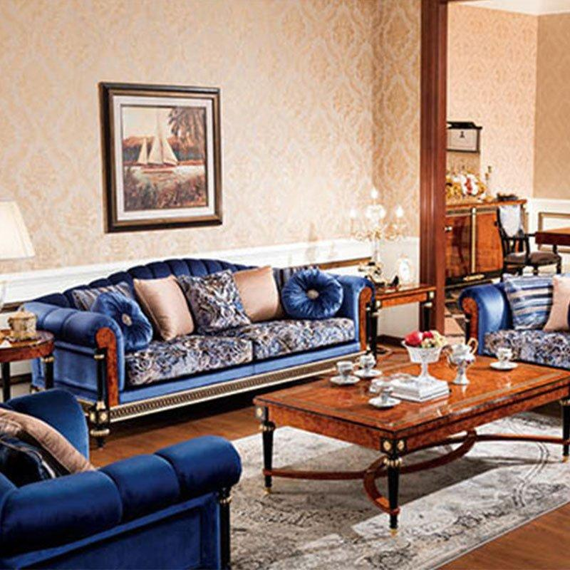 Luxury Royal Classic Living Room Furniture With Royal Blue Color Fabric Sofa For Hotel & Home 0069
