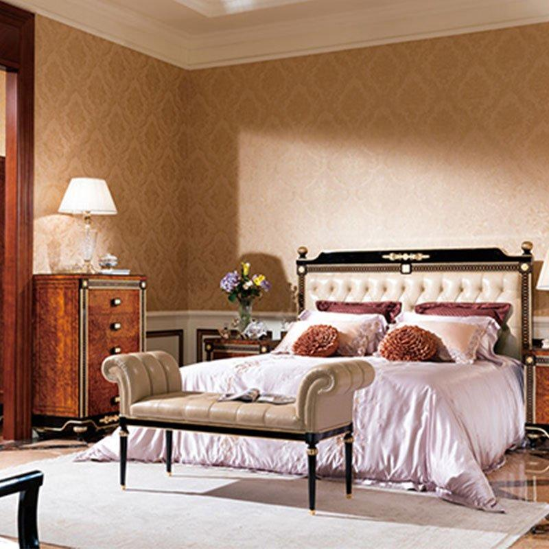 Italian Newly Black Color Bed With Shiny Brass Accessory Decoration Bedroom Furniture 0069