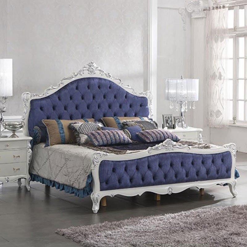 European Royal Blue Neo Italian Classical Bedroom Furniture With White Rim 0036
