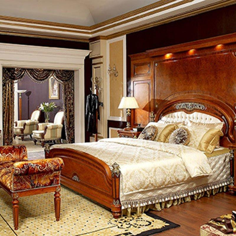 Luxury Italian Style Classic  Bedroom Furniture With Solid Wood Table and Chairs 0029