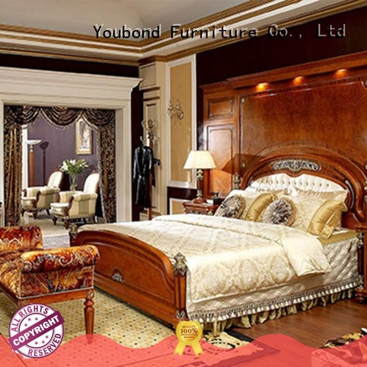 high end solid wood bedroom furniture with shiny brass accessory decoration for sale