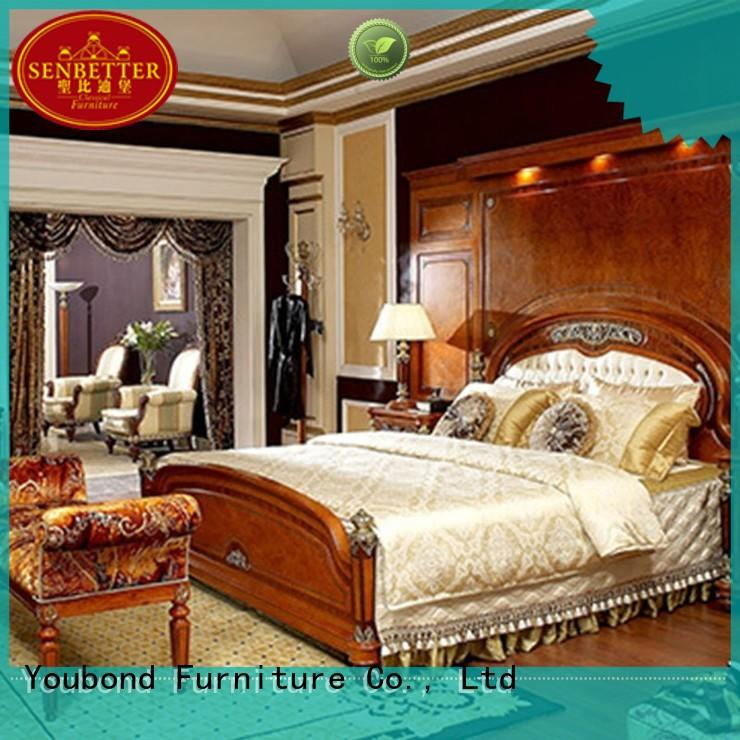 Senbetter wooden bedroom furniture with shiny brass accessory decoration for royal home and villa