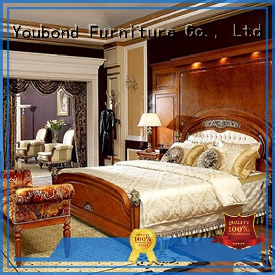 Senbetter mahogany sauder bedroom furniture with shiny brass accessory decoration for royal home and villa