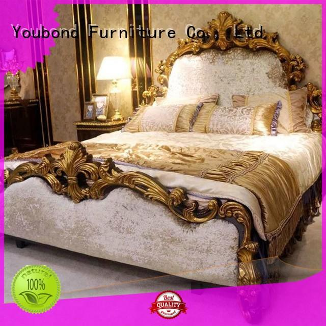 Senbetter italian style luxury bedroom furniture with shiny brass accessory decoration for sale