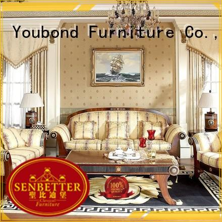 Senbetter wooden living room table sets with brass accessory for hotel