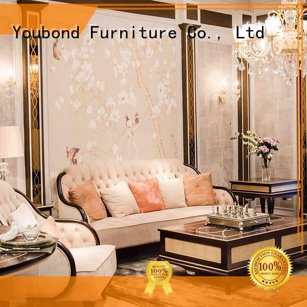 wooden living room furniture packages with flower carving for hotel